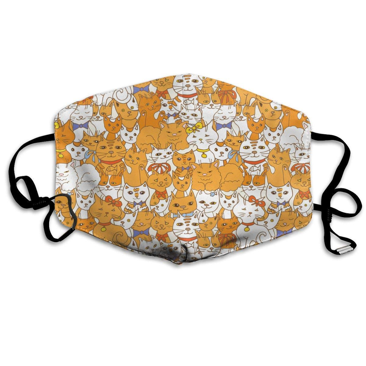 Daawqee Máscara de Boca, Funny Yellow Cats Pattern Unisex Creative Mascarilla Washable Safety 100% Polyester Comfortable Breathable Health Half Face Masks