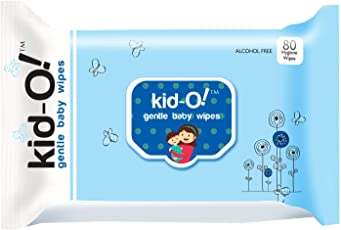 Kido Gentle Baby Wet Wipes with Aloe Vera, 15 cm x 20 cm (Kido Blue, 80 Count)