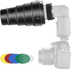 Neewer Kit di Snoot Conico in Lega di Alluminio con Griglia a Nido d'Ape & 5pz Filtro Colorato per Flash Speedlite Canon Nikon TT560 NW561 NW562 NW565 NW620 NW630 NW680 NW670 750II NW910 NW880