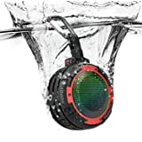 Bluetooth Lautsprecher IPX8 Wasserdicht,J Elektro Tragbare Lautsprecher mit 4 LED-Lichtmodi,Integriertem Mikrofon,Super Bass