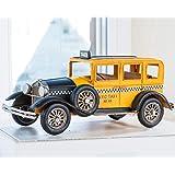 handgefertigtes Metallfahrzeug 32cm Modell im Retro Stil schwarz gelbes New York City N.Y.C Taxi Wohnideen Kupke Dekoratives