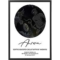 Mappa Stellare Personalizzata con Cornice - Quadro varie dimensioni vari colori Made in Italy Star Poster Mod.001