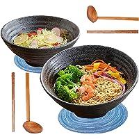 2 Ensembles (8 Pièces) Japonais Ramen Bol Set, 1000ml Bol a Soupe en Céramique, Vaisselle Ensemble avec Cuillères et…