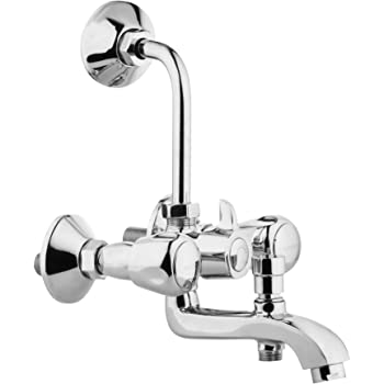 Hindware F100022 Contessa 3-in-1 Wall Mixer with Provision for Over Head and Hand Shower and 115mm Bend Pipe (Chrome)