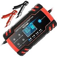 Chargeur de Batterie Intelligent 12V/24V 8A, Chargeur Batterie Mainteneur et Automatique Réparation Fonction Portable…