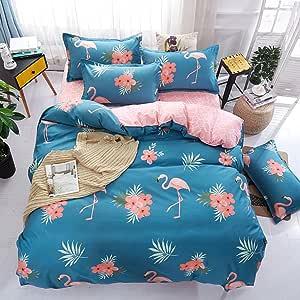 4tlg Flamingo Fashion Bettwäsche Sets Bettwäsche Reißverschlus Größe Design Blau