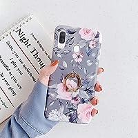 URFEFA Coque pour Samsung Galaxy A40 Coque Fleur Feuilles Motif Coque avec Bague Support Téléphone Strass Glitter…