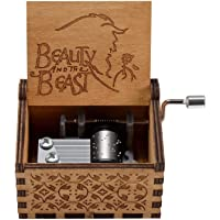 Caaju Music Box Hand Cranked Collectable Wooden Engraved Musical Box – Pack of 1 (Beauty and The Beast)