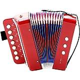 Dilwe Accordéon, 7 Touches 2 Basses Mini accordéon Jouet éducatif Instrument Musical pour Enfant débutant