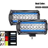 """7"""" Par CREE LED Proyector Blanco Puro 6000K+8000K Azul Hielo 240W 24000LM 9-30V Barra LED Fuera De Carretera Faro de Trabajo"""