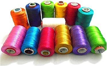 Keshav Silk Thread 17 Main Color Set for Jewellery-Tassel Making- Embroidery-Crafts, Shiny Soft Thread spools