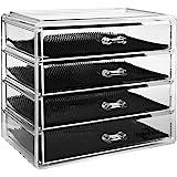 Boîte à Bijoux, Cosmétiques Organisateur Grand Rangement 4 Niveaux Maquillage - 4 tiroirs et séparateurs Amovibles - Acryliqu