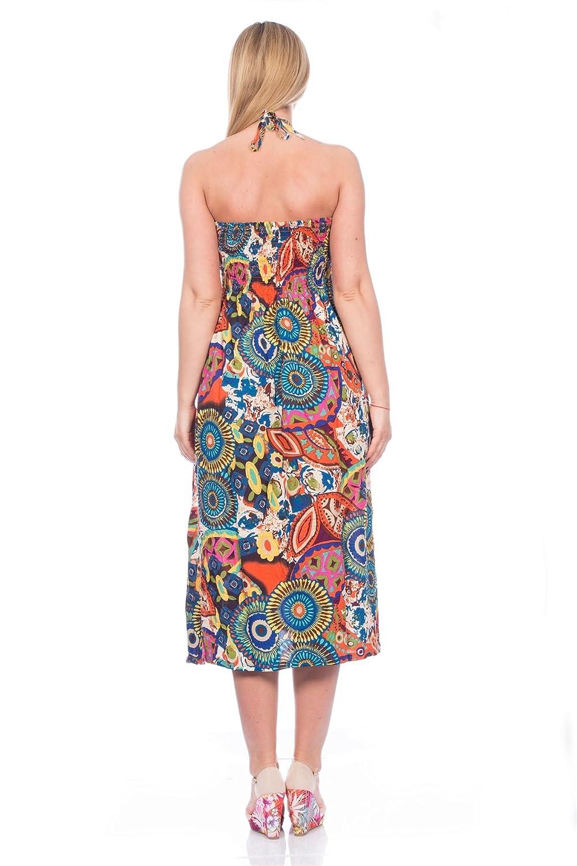 Blu Deise, Ladies Vibrant Bright Tribal Summer Holiday Dress