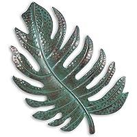 Tooarts - Scultura artistica da parete in metallo, stile vintage, a forma di foglia, ideale come decorazione per la casa, per il soggiorno Verde