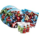 ILS I LOVE SHOPPING Juego de mesa para decoración de fiestas con temática de los Vengadores de Superoi con 8 platos de 23 cm,