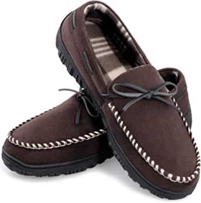 Moccasins House Slippers for Men Memory Foam Slip On Shoes