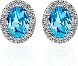 Yellow Chimes Crystals from Swarovski Glamorous Blue Hues Oval Crystal Earrings for Women and Girls
