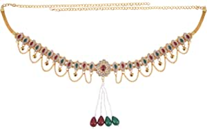 Archi Collection Fashion Jewellery Traditional Gold Plated Kundan Stone Pearl Tassel Kamarband Waist Chain for Women and Girls
