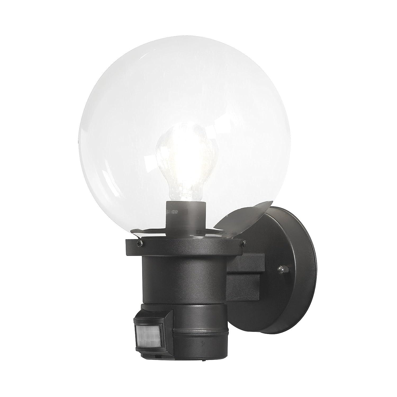 Konstsmide Nemi Up Globe Wall Light With Dusk Till Dawn Sensor Plastic Black Amazon Co Uk Lighting