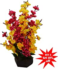 Thefancymart Artificial Cherry Blossom Flowers (size 12 inchs/ 30 cms) With Wood Pot - AF-1339
