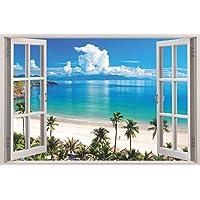Paper Plane Design 3D Depth Illusion Vinyl Wall Decal Sticker Flat Water Palm Trees Ocean Beach Sea Seascape View 90 cm…