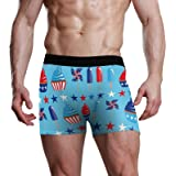 Cup Cake Ice Cream Windmill Stars 4Th of July Mens Slip Stretch Boxer Trunk Bulge Pouch