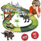 ACTRINIC Auto Rennstrecken-Sets Dinosaurier Spielzeug,mit 142 Stück Flexible Strecken 2 Dinosaurier,1 Militärfahrzeuge,4 Bäume,2 Pisten,1 Doppeltür und 1 Hängebrücke autorennbahn für Kinder