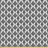 ABAKUHAUS Damast Stoff als Meterware, Schwarz-Weiß-Barock,