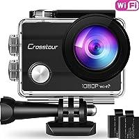 "Crosstour Action Sport Cam WiFi 14MP Full HD Unterwasserkamera 2"" LCD 170° Weitwinkelobjektiv Helmkamera mit 2 Akkus…"