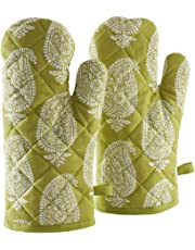 AmazonBrand-Solimo 100% Cotton Padded Oven Gloves, Paisley (Pack of 2)