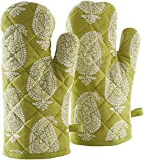 Solimo 100% Cotton Padded Oven Gloves, Paisley (Pack of 2)