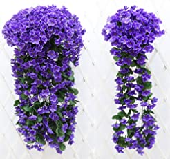 ChezMax Artificial Silk Violet Vine Fake Flowers Leaves Hanging Vine for Wedding Party Home Garden Balcony Decoration