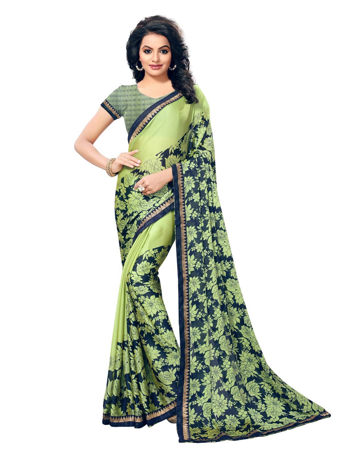 Kanchnar Women's Green Chiffon Georgette Printed Saree677S5