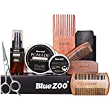 Beard Grooming Set Beard Care Beard Growth Kit with Beard Wax, Hair Ole,Pomade,Shaping Tool include three Comb, Beard Scissor