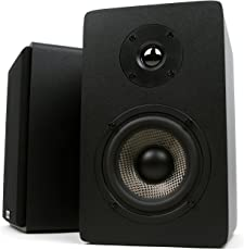 Micca MB42X Bookshelf Speakers with 4-Inch Carbon Fiber Woofer and Silk Dome Tweeter (Black)