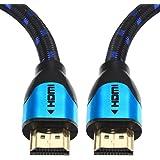 Câble HDMI Blindé 7,5M - Pro Blue - Cable HDMI 1.4 - HDMI 2.0b / 2.0a - HDR - Ultra HD 4K - Full HD 1080p - Haute Performance : 3D, Ethernet, Arc et CEC - Triple Blindage et Cordon Coton Bleu et Noir