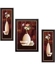 SAF Flower Floral Set of 3 9199 Painting (35 x 3 x 50 cms)