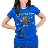 style3 Cookie Monster Maglione Natalizio T-Shirt da Donna omino di Pan di Zenzero x-mas Ugly Sweater