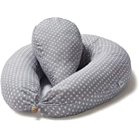 Niimo Pregnancy Pillow for Sleeping Full Body + Small Pillow Multifunctional Breastfeeding Pillow Baby and Maternity 100% Cotton Pillowcase Support Belly Pregnant Women (Grey-White POIS)
