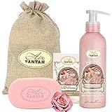 Coffret Cadeau Femme ROSE,Lot Duo Bain Soin Un Air d'antan 1 Savon aux Huiles Bio 100g Et 1Lait Corps 200ml–Parfum Rose,Patch
