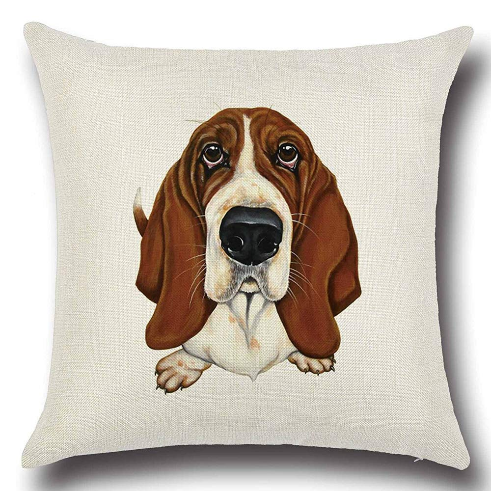 18 x 18 Inch Square Throw Cushion Cover Pillow Case Standard Size for Home Sofa Decorative Cotton Linen Durable Pillow Cases Covers Zippered Pillowcase (Dog1)