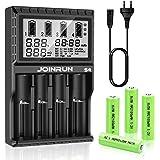 FYLINA Batterieladegerät Universal Ladeschächte LCD-Display Batterie ladegerät 4 Schacht Plug Ladestation für Batterien für Li-Ionen/IMR/INR/ICR/NI-MH/NI-Cd(AA/AAA/AAAA/C) Mit 4 AA Batterien