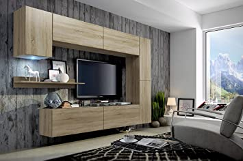 FUTURE 6 Modern Living Room Furniture Set, Exclusive Entertainment Unit,  TV Stand, Brand New Suite, Many Colours (RGB LED Lighting Available)  (Sonoma Oak ... Part 66