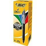 BIC Kugelschreiber 4 Colours Grip Pro mit gummierter Griff-Fläche, 12er Pack, Ideal für das Büro, das Home Office oder die Sc