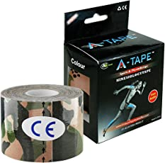 A-TAPE Kinesiology Tape Knee, Calf & Thigh Support (Waterproof Spandex Cotton, Army) 5 CM X 5 MTR
