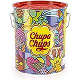 Chupa Chups best of lolly's emmer, 150 lolly's in opbergblik, Pop-Art metalen blik met 6 smaken - snoep om te delen, cadeau t