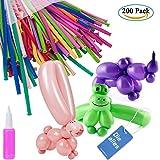 Modellierung Ballons Kit, Diealles 200pcs Luftballons Bunt Magic Modellierballons mit 1 Ballonpump für Feiern Geburtstage Clowns Veranstaltungen Dekoration
