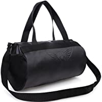 AUXTER Blacky Leatherette Gym Bag Duffel Bag Shoulder Bag for Men and Women Emboss Logo (Black)