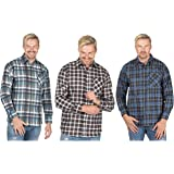 Style It Up Mens Check Shirt Brushed Long Sleeve Flannel Lumberjack Work Warm Casual Outdoor