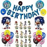 Décorations Anniversaire Garçons Enfant Sonic Articles de Fête Ballons Sonic the Hedgehog Bannière de Joyeux Anniversaire Cup